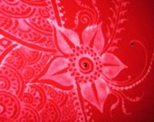 Eddie Bauer Tee Shirt Medium Red with henna mehndi bleached-out design with red gems