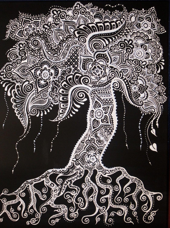 Henna Mehndi Tree : Tree canvas henna mehndi original black white silver