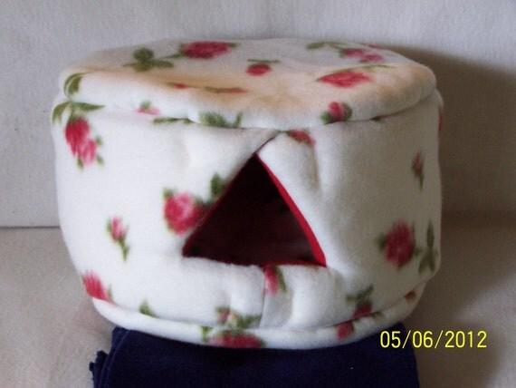 Small Custom Cozy Bed for ferret, guinea pig, hedgehog, hamster, gerbil , sugar gliders - Beige with roses