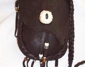 Medicine bag leather antler burr rosette