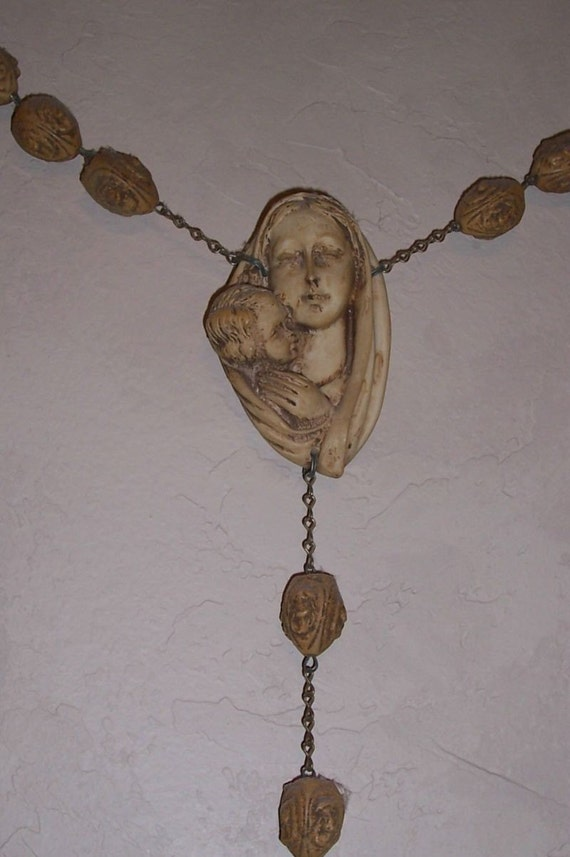 Large Vintage Italian Wall Rosary