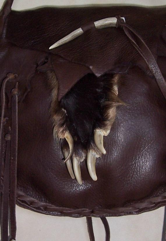 Badger paw dark brown deerskin leather possibles bag 2 compartments OOAK mountain man rendezvous totem