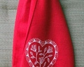 Scarf (Pashmina) - Red with Embroidered Lace Heart and Crystals