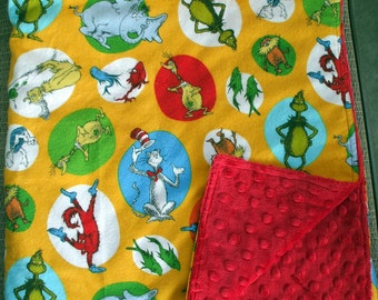 "Baby Blanket - Dr. Seuss Flannel with Bright Red  Dimple Minky 30"" x 35"""