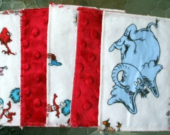Kids Reusable Swipers - Dr. Seuss Dimple Minky Hanky (set of 5)