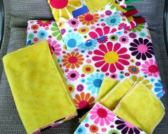 """Baby Girl Gift Set - Flower Power Minky with Yellow Flannel, (1) Blanket 29"""" X 35"""", (1) Burp Towels, (1) Lovey, (5) Swipers"""