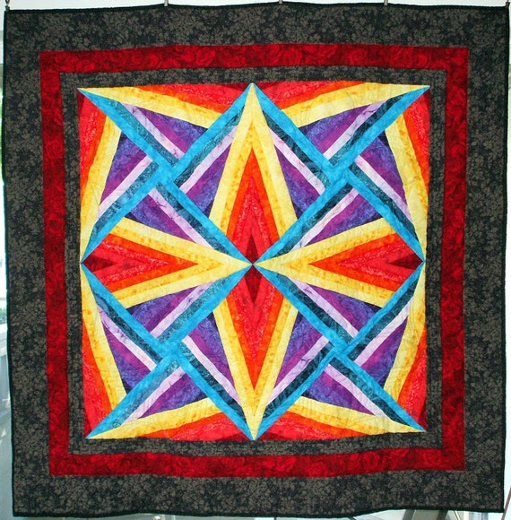 Quilt - Jewel-tone Kaleidoscope with Black and Red Border, Lap Size
