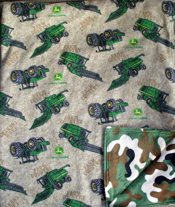 "Baby Blanket - John Deere Tractors on Brown Flannel with Camouflage Minky, 29"" X 35"""