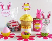 Spring and Easter DIY Printables Pink Flowers and Bunnies #PRN101