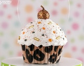 Leopard Print Fake Cupcake Decoration mini size - great for a birthday gift #CUP202