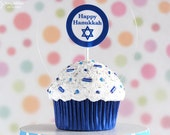 Happy Hanukkah Cupcake Ornament - mini size - great for a hostess gift #CUP143