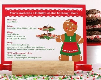 Holiday Cookie Exchange Party DIY printable custom invitation - gingerbread woman theme #PRN103