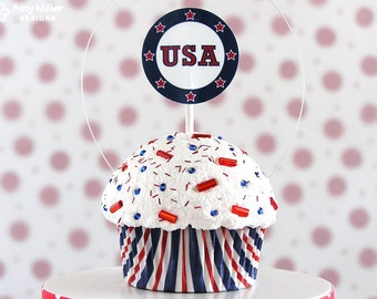 Red White and Blue USA Mini Fake Cupcake Decoration #CUP174