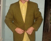 Early 1960s Mid Century Custom Tailored Olive Green Union Made Gentlemen's Suit Jacket Size Medium/ Large