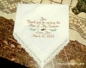 Personalized Mother in-law Mom of the Groom - Bridal Ivory Seaside Lace - Handkerchief By Canyon Embroidery