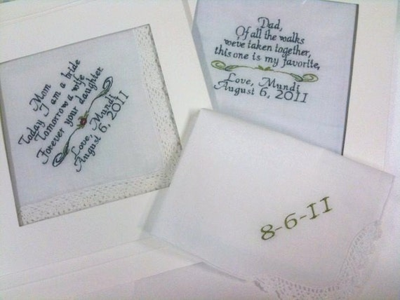 SPECIAL 3 Wedding Hankies 2 with sayings and 1 Date Handkerchief By Canyon Embroidery on ETSY