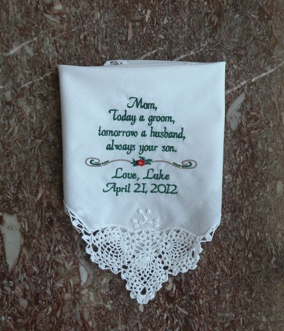 Wedding Handkerchiefs For The Family: Personalized Wedding Handkerchief From Son To Mother Of The