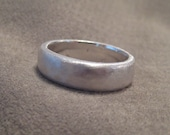 Organic Wedding Ring Mans Fine Silver Band Plus Size Freeform Unisex  JJDLJewelryArt