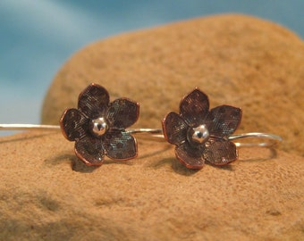 Copper Flower Earring Silver Mixed Metal Buttercup Dangle Verdigris JJDLJewelryArt