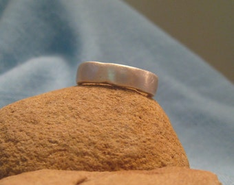 Organic Wedding Ring Mans Recycled Silver Band Modern Freeform Wide JJDLJewelryArt