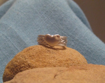 Heart Commitment Ring Silver Engagement Wedding Stacking Band Set Sale JJDLJewelryArt