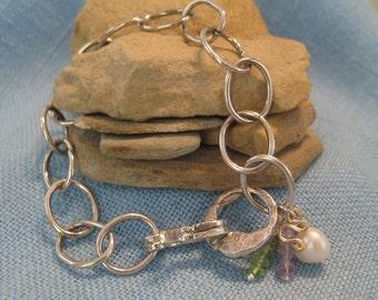 Heavy Chain Charm Bracelet Sterling Silver Chunky Cable Link Amethyst Peridot Pearl Gold JJDLJewelryArt