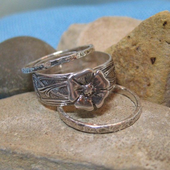Victorian Rose Engagement Ring Wedding Band Stacking Set Sterling Silver Wide Flower Band JJDLJewelryArt