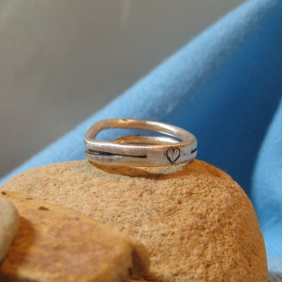 Heart Promise Ring Stacking Wedding Band Silver Commitment Ring Unisex JJDLJewelryArt
