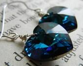 Sterling Silver Swarovski Heart Earrings - Bermuda Blue