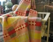 Vintage Reversible PINK & Yellow Beacon Camp Blanket