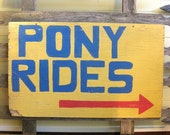 Vintage Wood Pony Rides Sign