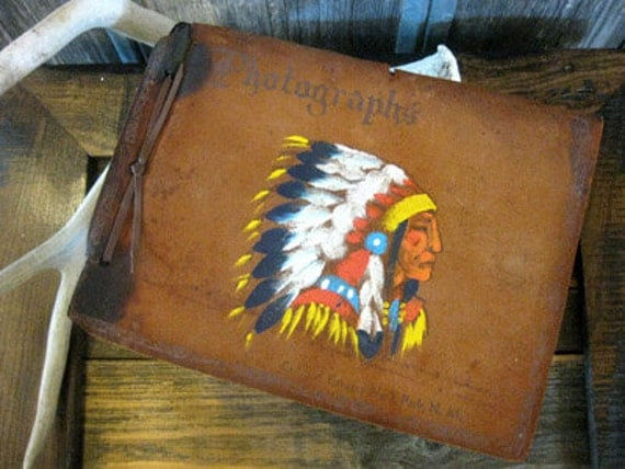 Leather Native American Indian Picture Album