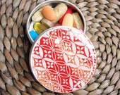 Gorgeous Red with White Geometric design Chiyogami  - Screw Top 1 oz Round Tins - Stash your secrets -Resin protected Chiyogami top