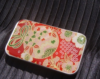 Red with Pink Sphere - Stash your secrets in this cool small slider tin - Resin protected Chiyogami top