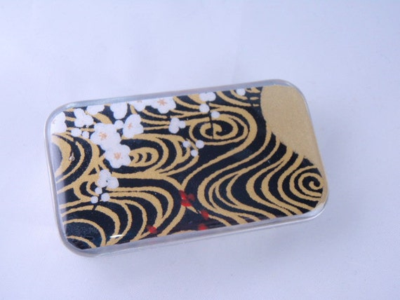 Black on Gold Chiyogami - Stash your secrets in this Cool little slider tin - Chiyogami and Resin protected top