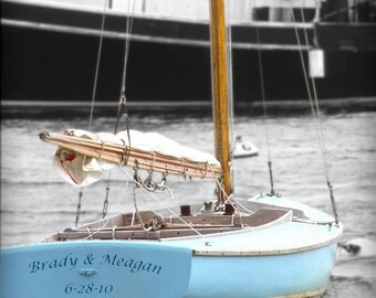 Personalized Sailboat Photo, Unique Nautical Gift for Weddings, Beach House Wall Art, Sailors Valentine, Gift for Sailor, Ocean Lovers Gifts