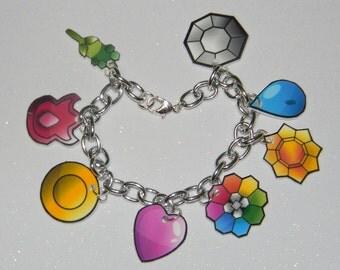 Pokemon Badges Charm Bracelet PICK Kanto, johto, hoenn, sinnoh, unova, kalos