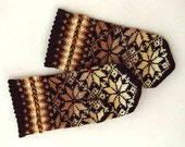 High quality hand knitted warm wool mittens , gloves patterned brown color blend