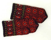 High quality hand knitted warm wool mittens , gloves patterned Black and Red rounds with green decor