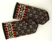 Hand knitted warm wool mittens , gloves Grey and Black diamond pattern decorated with orange flames