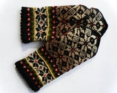 Hand knitted warm wool mittens , gloves patterned Brown, white, black