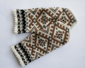 Hand knitted warm wool mittens , gloves  patterned Brown, white.