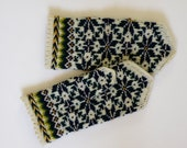Hand knitted warm wool mittens , gloves patterned navy blue flowers