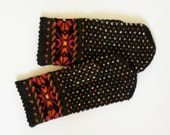 Hand knitted warm wool mittens , gloves patterned colorful rain