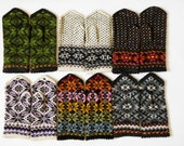 High quality hand knitted warm wool mittens , gloves choose your style (price for 1 pair)