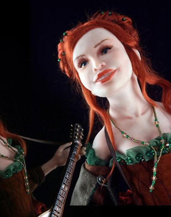 OOAK Art Doll Mandolin Player Bard Fantasy Hand Made Doll
