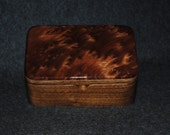 Redwood  Burl on Walnut Small Wooden Box With a Lift Out Tray