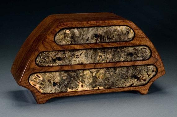 """Handmade Walnut """"Katie"""" Wood Jewelry Box with Buckeye Burl"""