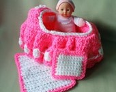 Bright Pink Cradle Purse with Baby, Blanket and Pillow