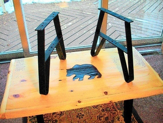 Metal Furniture Bench Leg Set or CoffeeTable Leg Set  USA WI Made Painted Flat Black